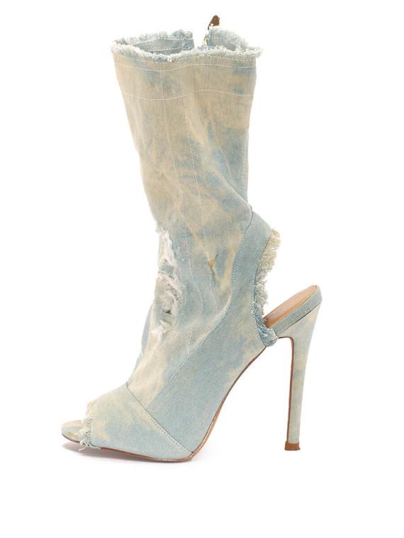 Women Key Couture Denim Sandal Heels -  Blue Size 39 US 9