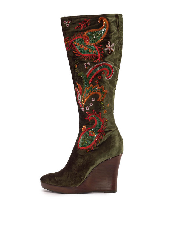 Women Le Silla Embroidered Knee-High Boots -  Green Size 38 US 8