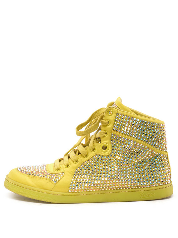 Women Gucci Crystal High-Top Sneakers -  Yellow Size 38.5 US 8.5