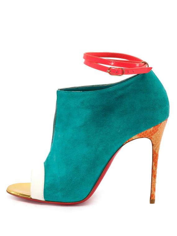 Women Christian Louboutin Diptic Sandal Heels -  Blue/Pink/Orange Size 38.5 US 8.5
