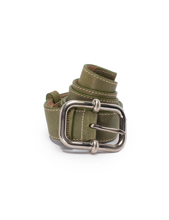 Women Miu Miu Silver Buckle Belt -  Green Size 80