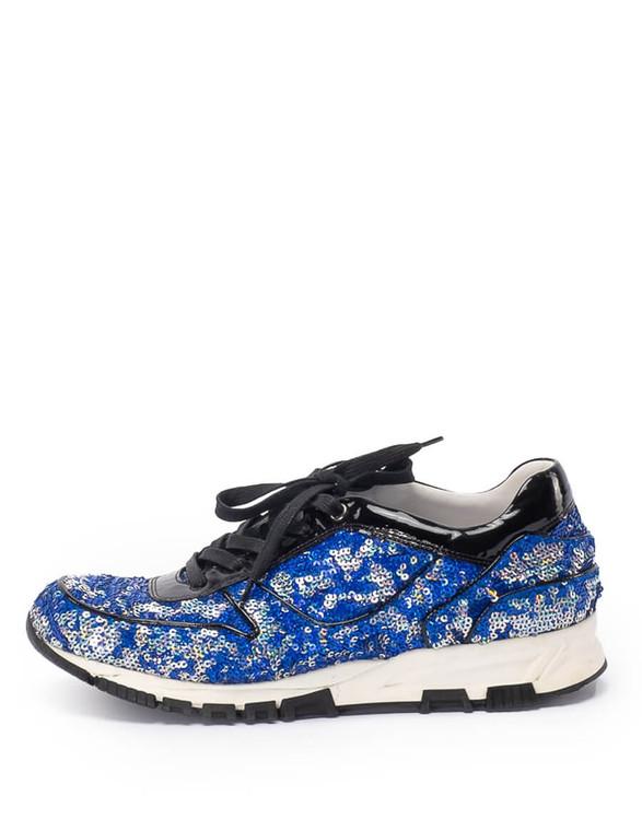 Women Lanvin Sequin Sneakers -  Blue Size 40 US 10