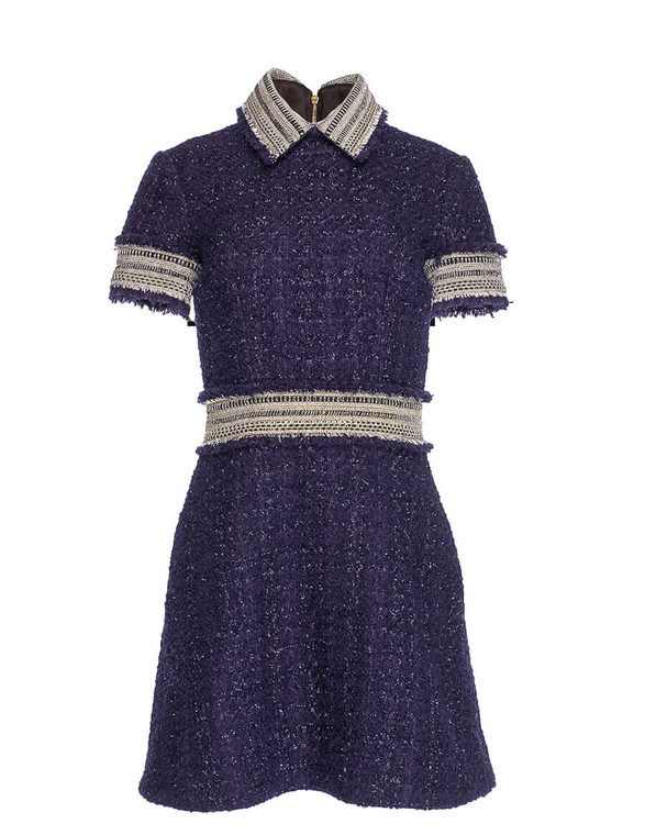 Women Ralph and Russo Tweed Collared Dress -  Blue Size S