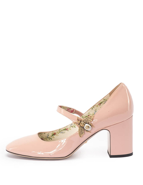 Women Gucci Bee Mary Jane Pumps -  Pink Size 37 US 7