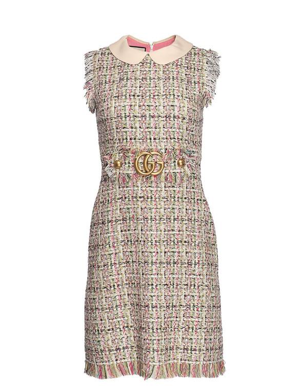 Women Gucci Embellished Tweed Dress -  Pink Size S IT 38 US 2