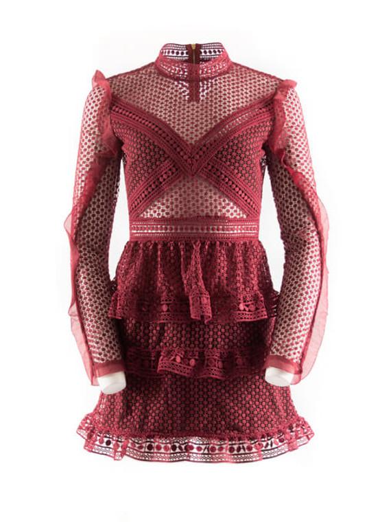 Women Self Portrait High-Neck Lace Mini Dress - Burgundy Size S US 4