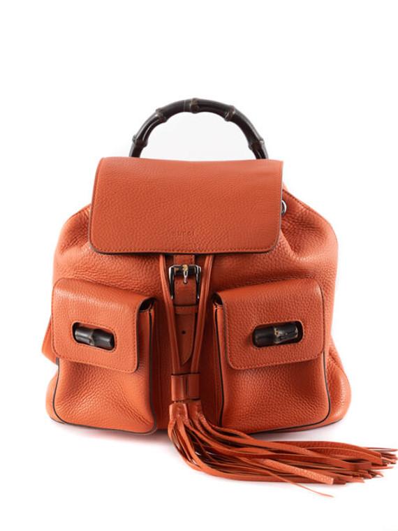 Women Gucci Medium Bamboo Tassel Backpack - Orange