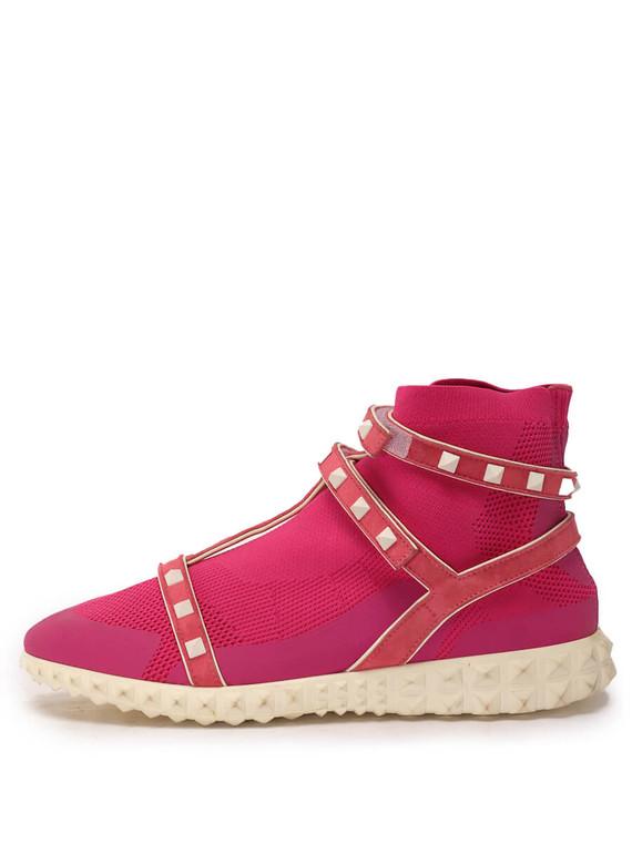 Women Valentino Rockstud Sock Sneakers - Pink Size 38 US 8