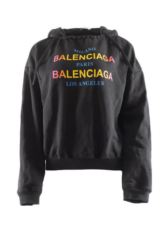 Women Balenciaga Logo Hoodie - Black Size S US 4