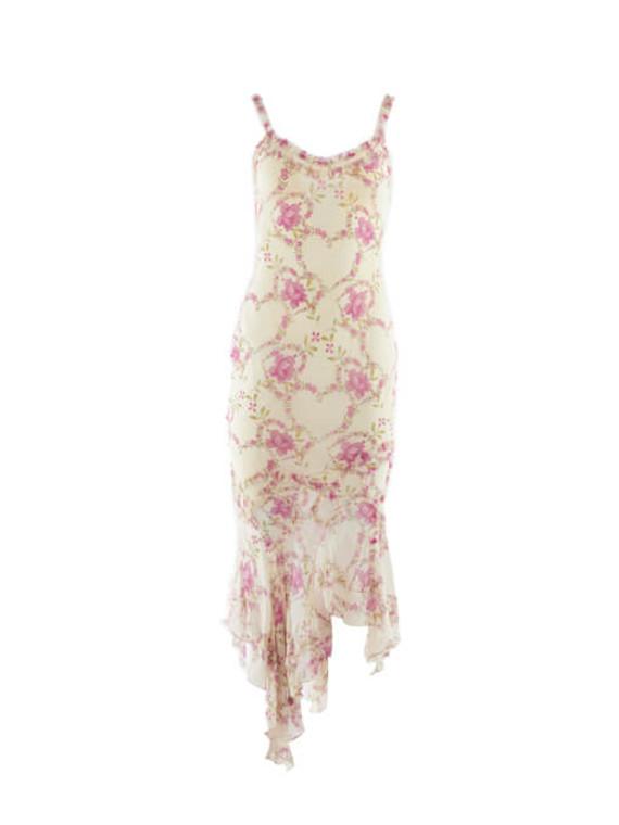 Women John Galliano Flower Printed Slip Dress - White Size M UK 10 US 4 FR 38