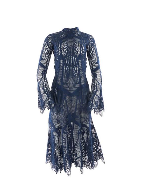 Women Jonathan Simkhai Mockneck Lace Embroidered Maxi Flare Dress - Blue Size S UK 8 US 4
