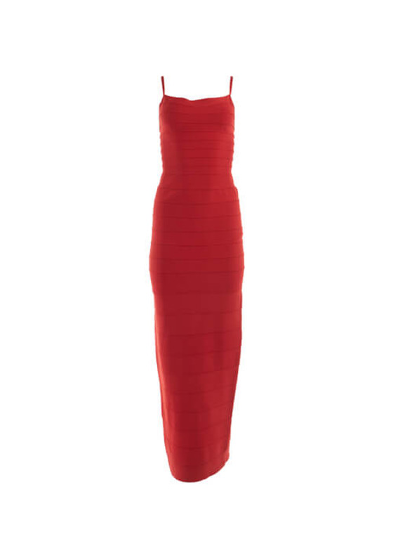 Women Herve Leger Fitted Maxi Dress - Red Size L UK 14 US 10