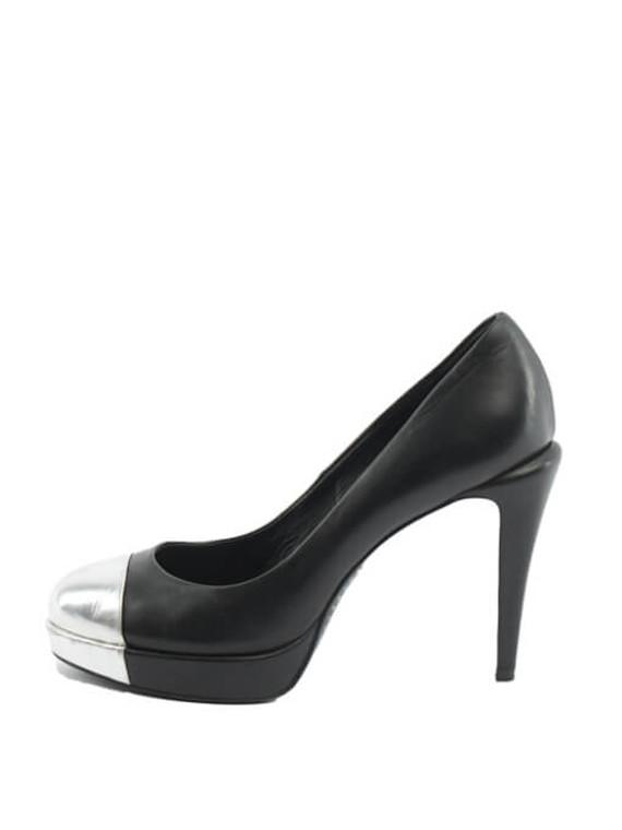 Women Chanel CC Cap Toe Platform Pumps - Black UK 6.5 US 9.5 EU 39.5