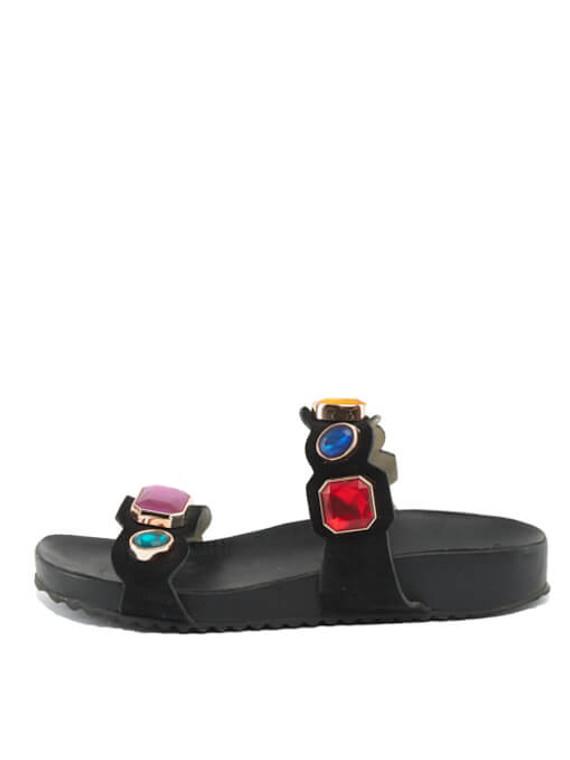 Women Sophia Webster Becky Gem Nautical Sandal Slides - Black UK 6 US 9 EU 39