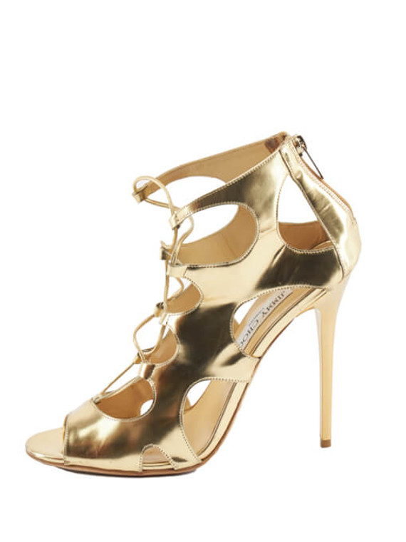 Women Jimmy Choo Mirror Diffuse Sandals - Gold Size UK 7 US 10 EU 40