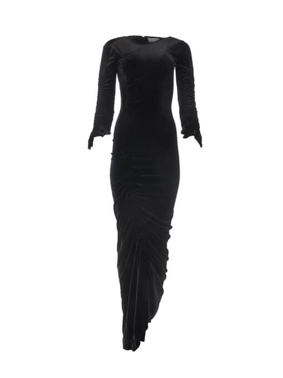 Women Preen By Thornton Bregazzi Asymmetrical Velvet Dress - Black Size S US 4 UK 8