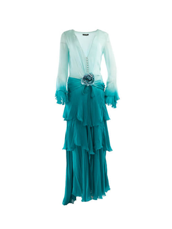 Women Roberto Cavalli Ombre Maxi Dress - Blue Size M UK 10 US 6 IT 42