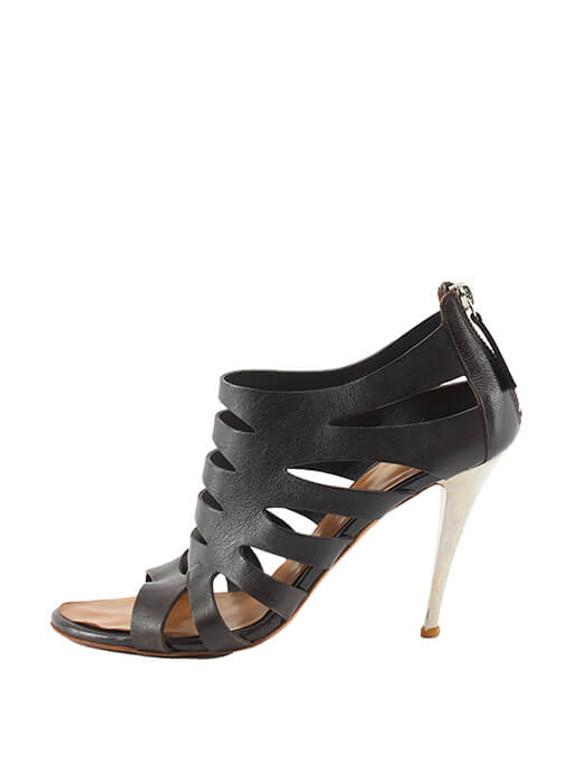Women Giuseppe Zanotti Caged Sandal Heels - Black Size UK 5.5 US 8.5 EU 38.5