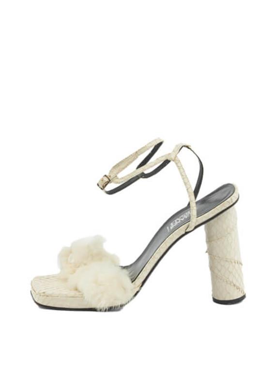 Women Gianni Versace Trimmed Sandal Heels - White Size UK 5 US 8 EU 38