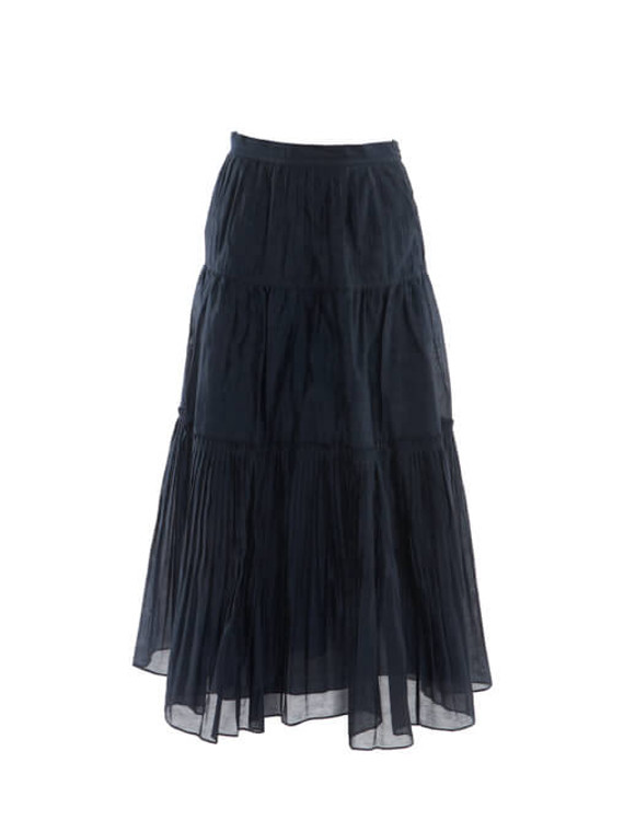 Women Ulla Johnson Ruffled Maxi Skirt - Navy Size S UK 8 US 4