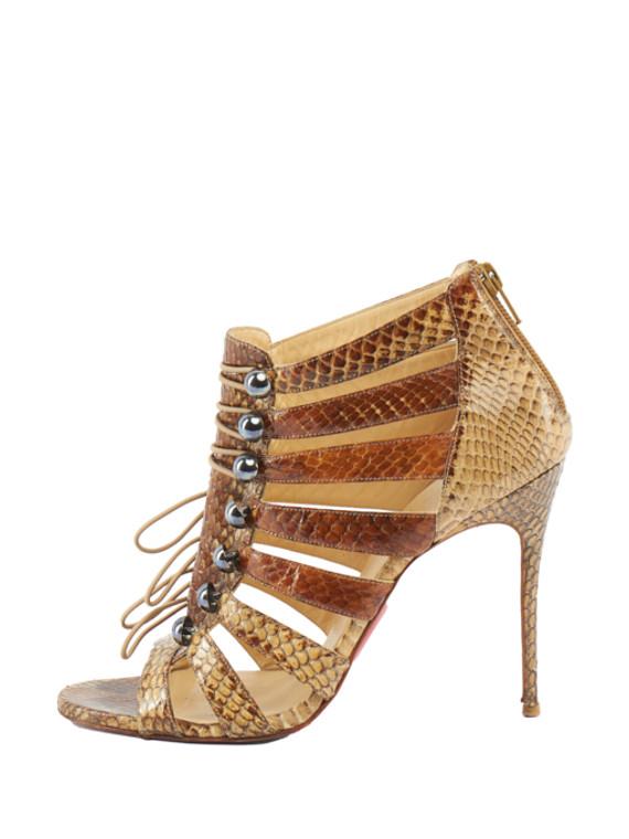 Women Christian Louboutin Ankle Sandal Heels - Brown Size UK 6 US 9 EU 39
