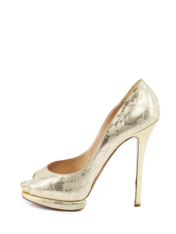 Women Nicholas Kirkwood Metallic Lace Platform Heels - Gold Size UK 6 US 9 EU 39