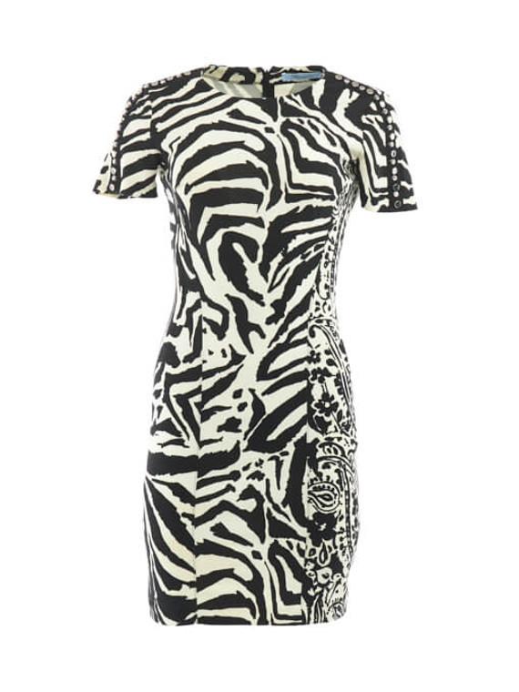 Women Blumarine Zebra Print Midi Dress - Black Size M UK 10 US 6 IT 42