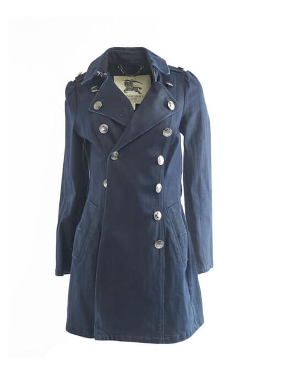 Women Burberry Denim Trench Coat - Blue Size S UK 8 US 6 IT 40