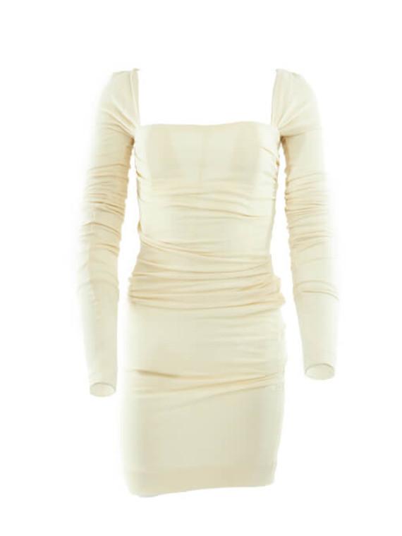 Women Dolce & Gabbana Wool Mini Dress - White Size S UK 8 US 4 IT 40