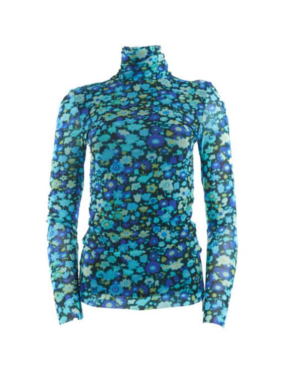 Women Ganni Mesh Rollneck Top - Blue Size XS UK 6 US 0 FR 34