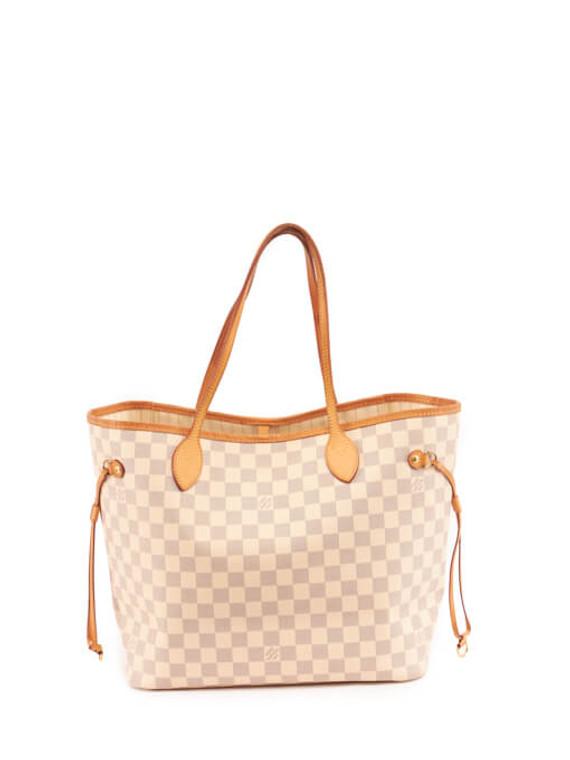 Women Louis Vuitton Damier Azur Canvas Neverfull GM Bag - White
