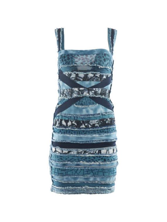 Women Herve Leger Denim Patch Bandage Dress - Blue Size S UK 8 US 4
