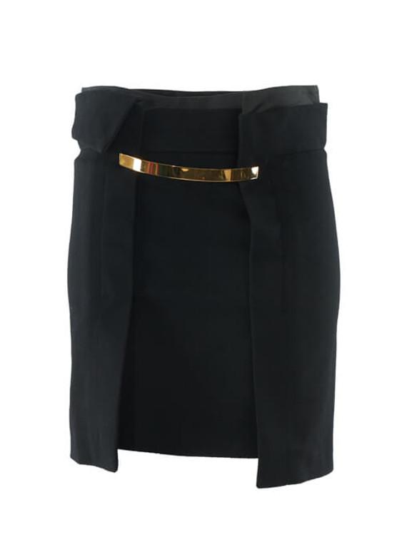 Women Gucci Belted Wool Mini Skirt - Black Size XS UK 6 US 0 IT 38