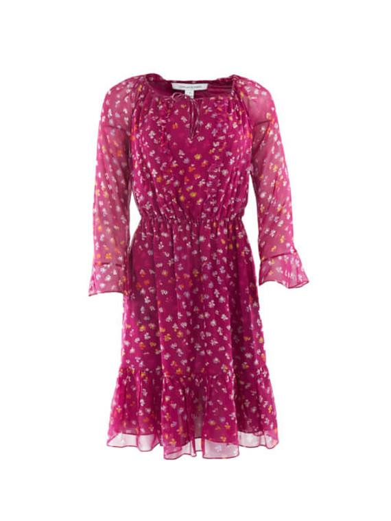 Women Diane von Furstenberg Belted Flower Print Dress - Pink Size S UK 8 US 4