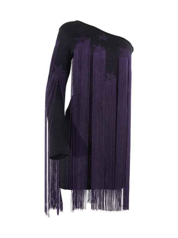 Women Roberto Cavalli Star Fringe Dress - Purple Size S UK 8 US 4 IT 40