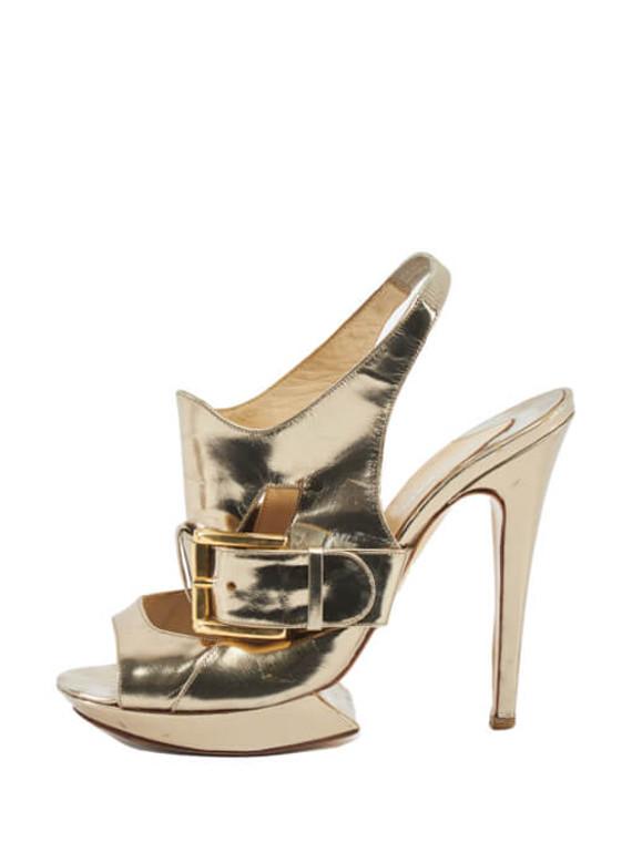 Women Nicholas Kirkwood Metallic Buckle Platform Heels - Gold Size UK 5.5 US 8.5 EU 38.5