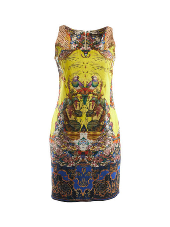Women Roberto Cavalli Novalty Bird Printed Dress - Multicolour Size L UK 12 US 10 IT 44