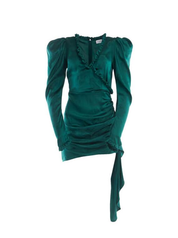 Women Magda Butrym Carlton Jacquard Wrap Dress - Green Size XS UK 6 US 2 FR 34