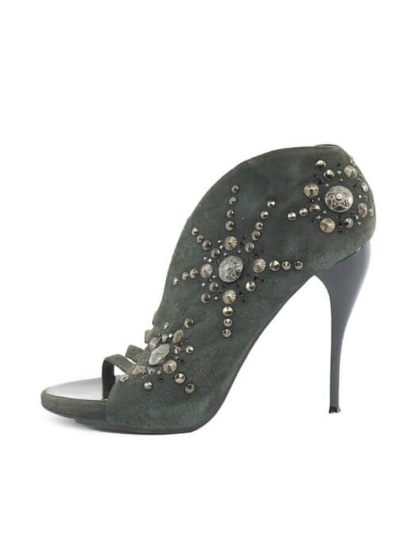 Women Giuseppe Zanotti Studded Heels - Green Size UK 6.5 US 9.5 EU 39.5