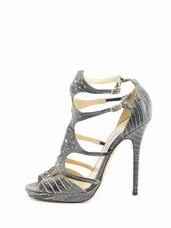 Women Jimmy Choo Sandal Stud Heels - Grey Size UK 6 US 9 EU 39