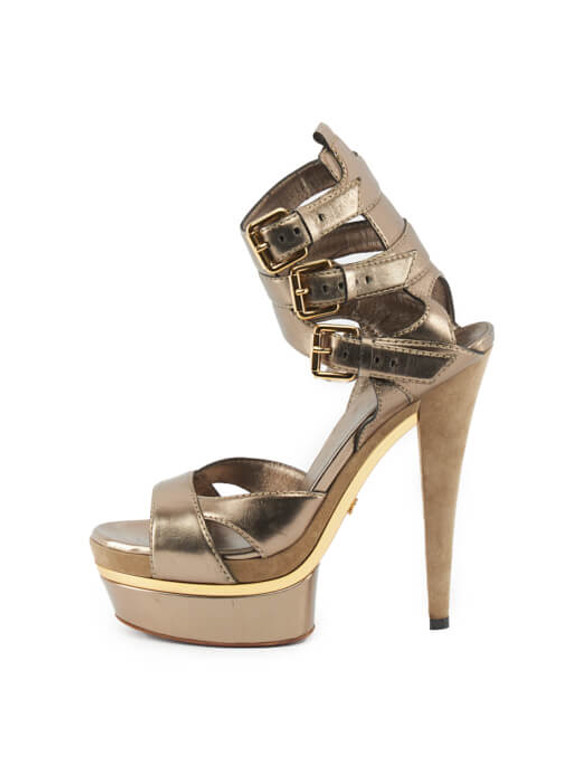 Women Gucci Iman Ankle Strap Platform Sandals - Bronze Size UK 6 US 9 EU 39
