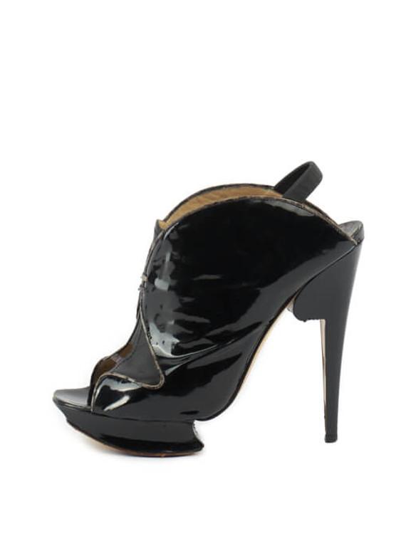 Women Nicholas Kirkwood Peeptoe Slingback Platform Heels - Black Size UK 6.5 US 9.5 EU 39.5