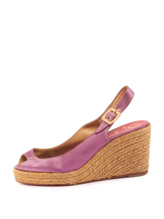Women Christian Louboutin Satin Slingback Wedges - Purple Size UK 6 US 9 EU 39