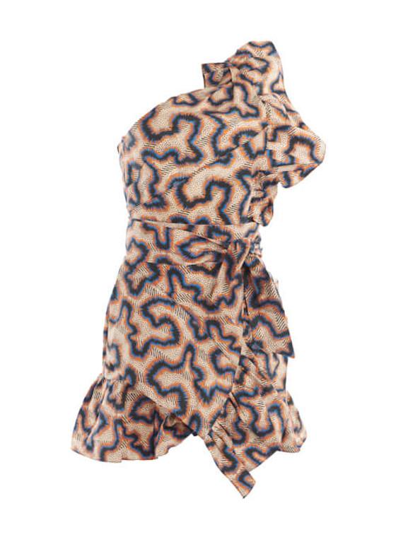 Women Isabel Marant Lavern Print Ruffled Mini Dress - Multicolour Size S UK 8 US 4 FR 36