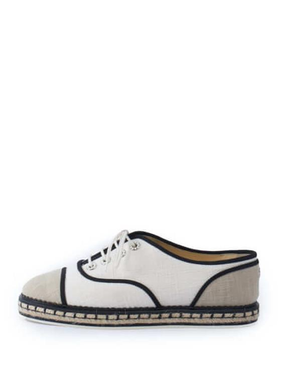 Women Chanel Laced Espadrilles - White Size UK 5.5 US 8.5 EU 38.5