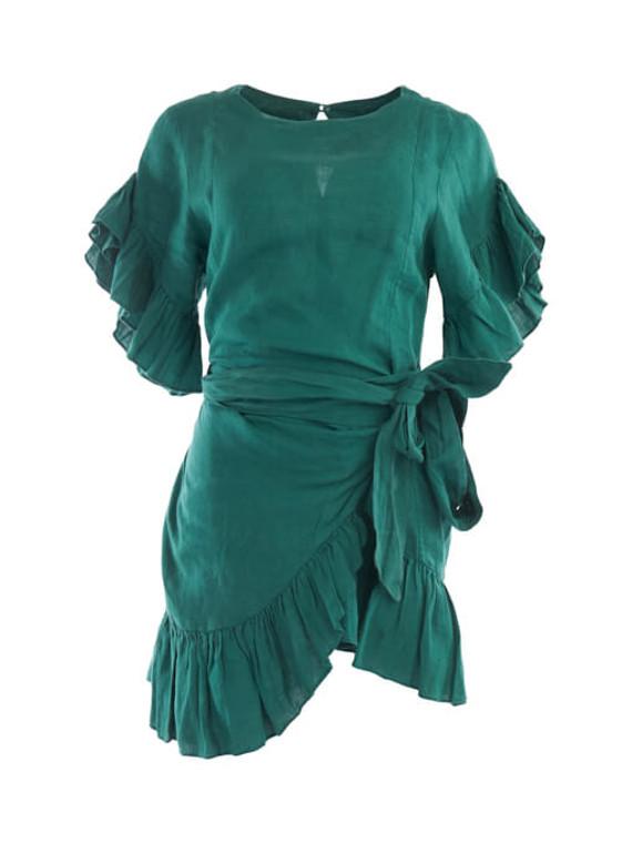 Women Isabel Marant Étoile Delicia Ruffle-Trim Wrap Dress - Green Size S UK 8 US 4 FR 36