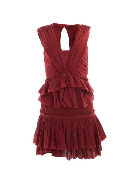 Women Isabel Marant Mini Ruffled Skirt & Blouse Set - Red S/M UK 8/10 US 2/6 FR 36/38