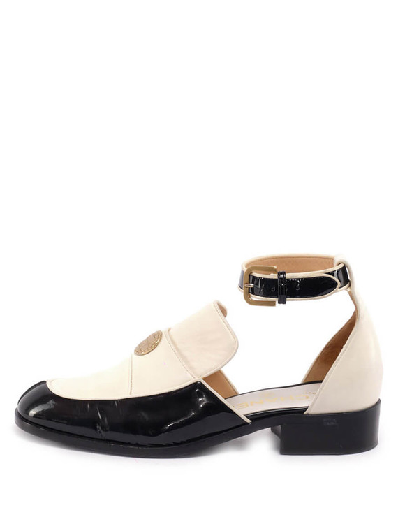 Women Chanel Ankle Strap Loafers - White Size UK 3 US 6 EU 36