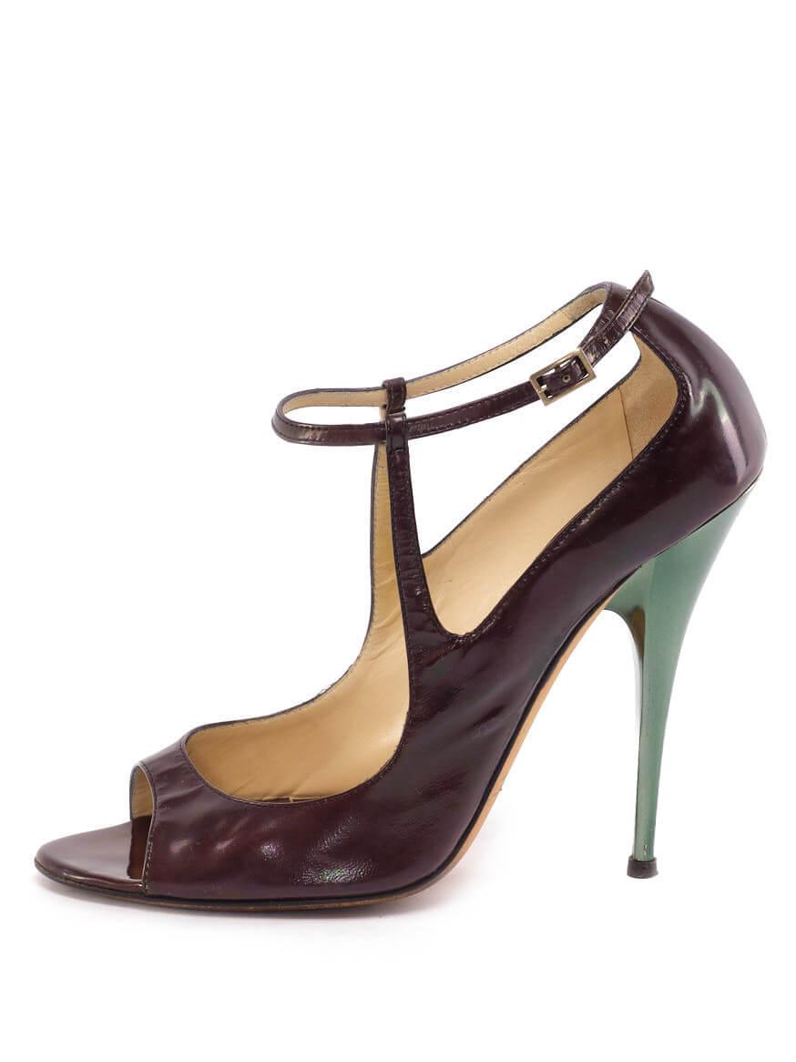 Women Jimmy Choo Ankle Strap Sandal Heels - Purple Size UK 6 US 9 EU 39