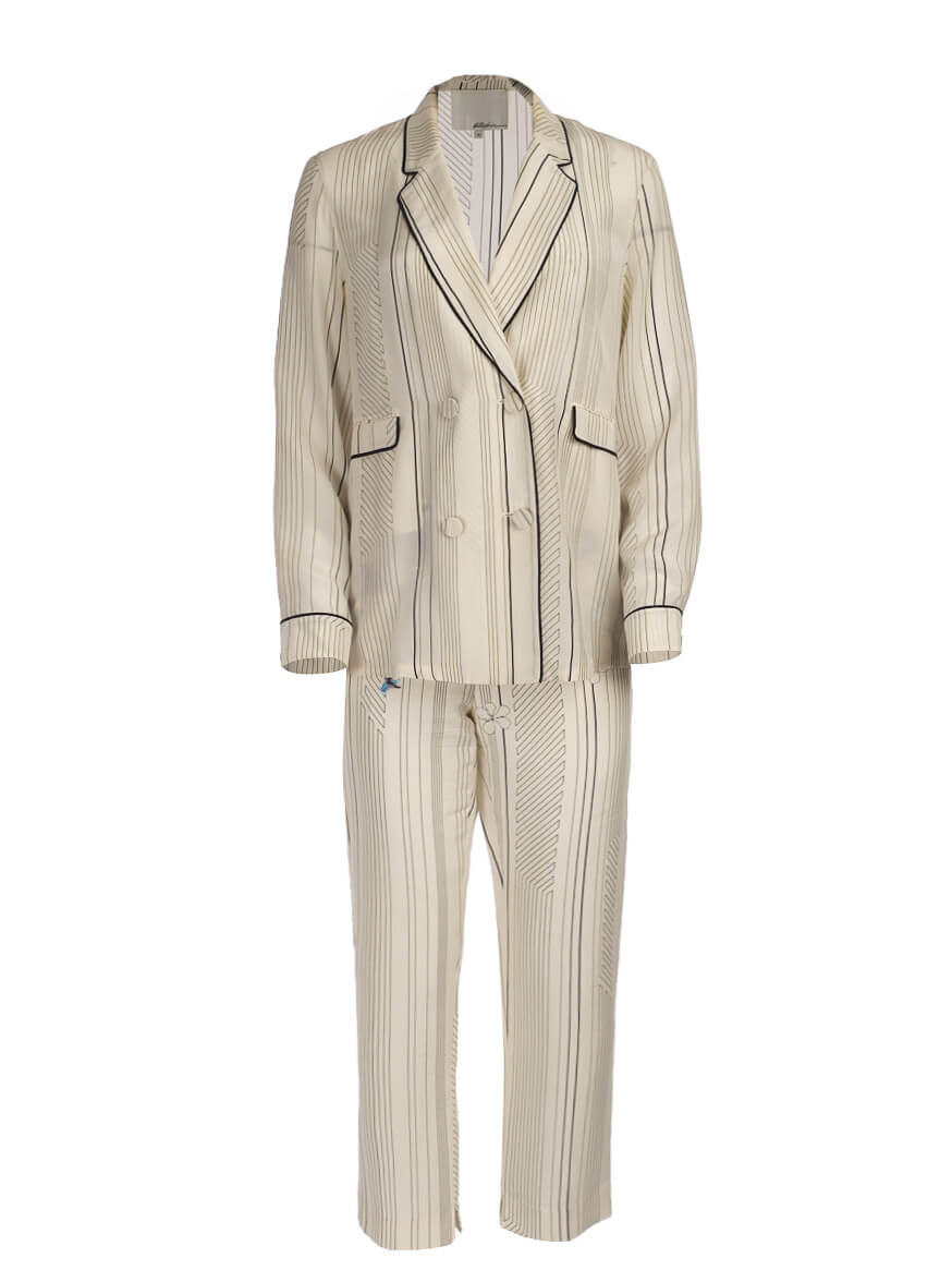 Women 3.1 Phillip Lim Floral-Print Striped Top & Pant - White Size L UK 14 US 10